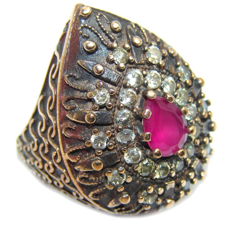 Victorian Style created Ruby & White Topaz Sterling Silver ring; s. 6 3/4