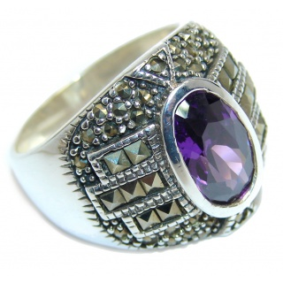 Amazing Created Alexandrite Marcasite Sterling Silver Ring s. 9