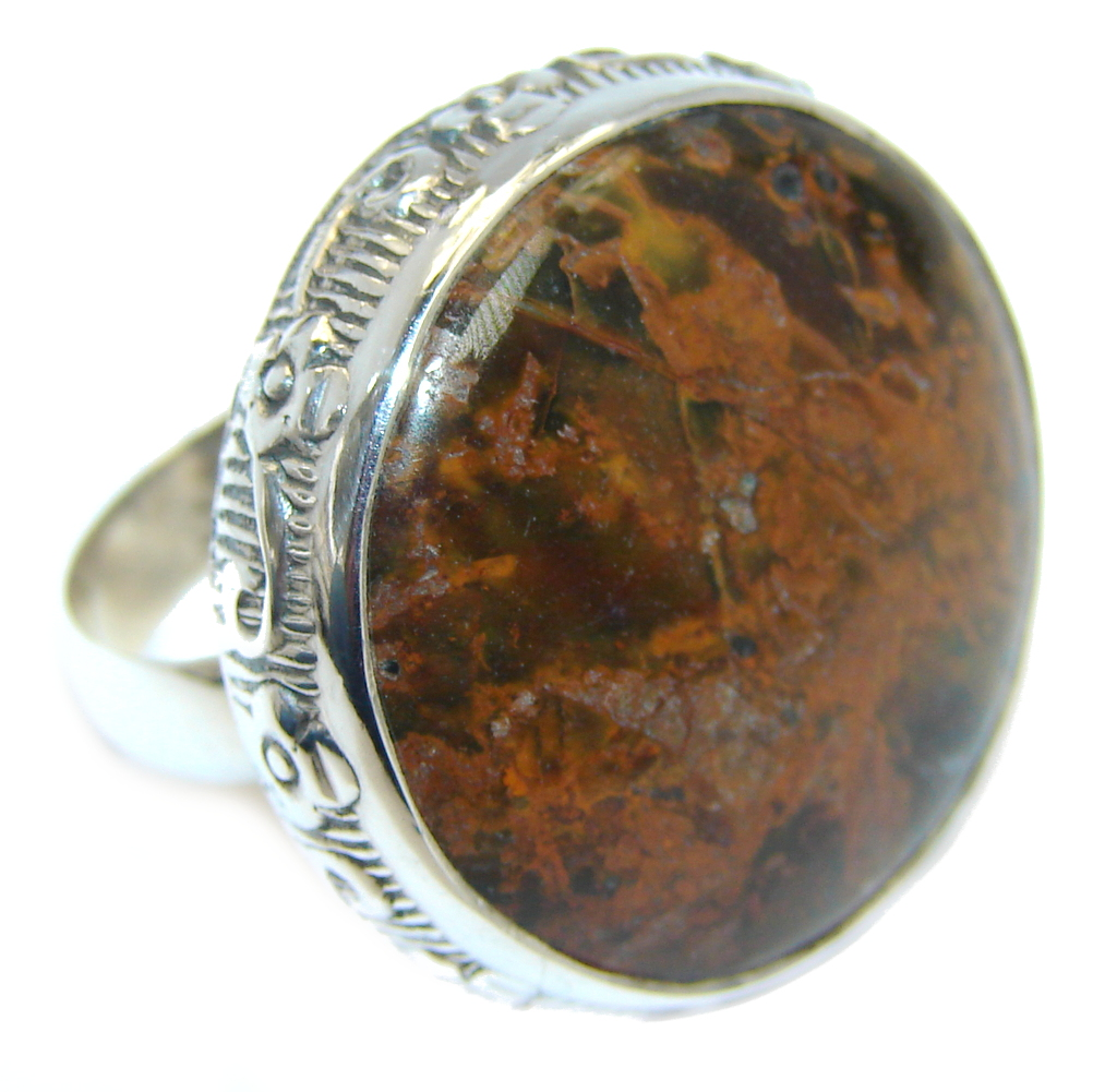 big stylish golden obsidian sterling silver ring s 8 1