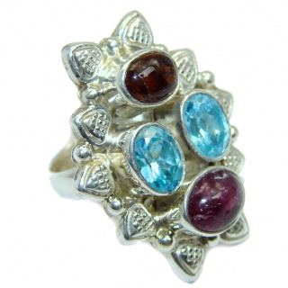 Tourmaline Swiss Blue Topaz Sterling Silver Ring s. 6 1/2