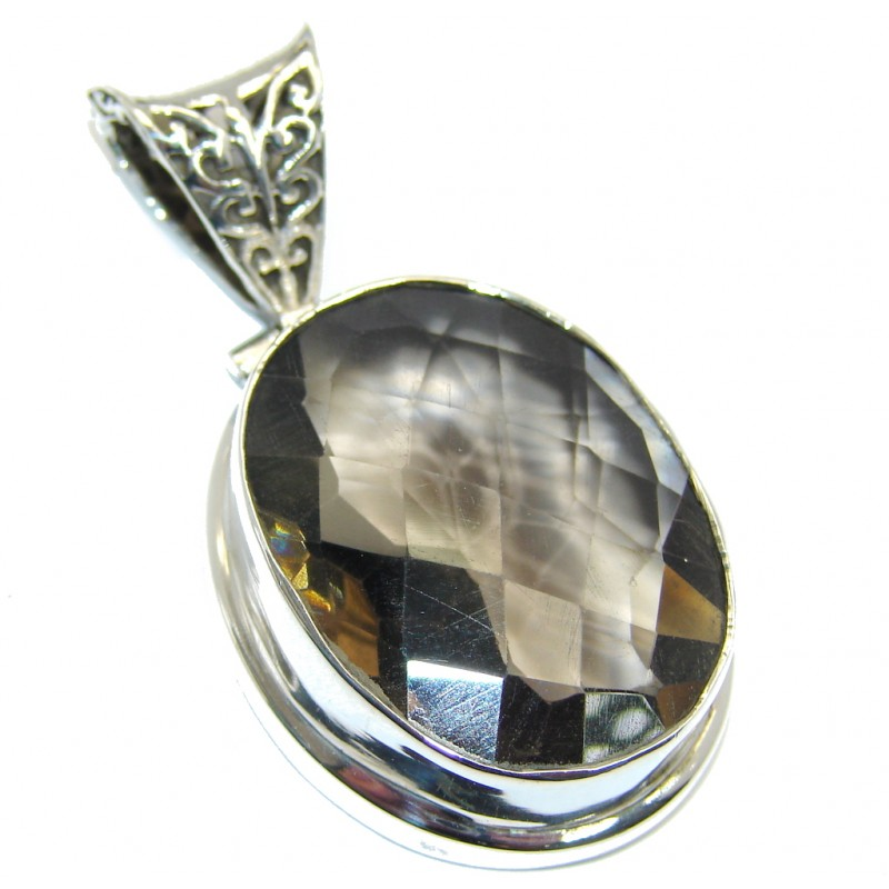 Simple created Smoky Topaz Sterling Silver Pendant