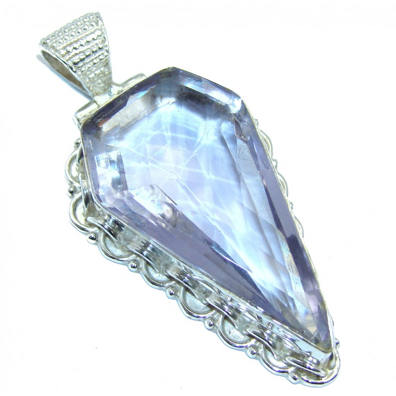 Large Simple created Tanzanite Sterling Silver Pendant