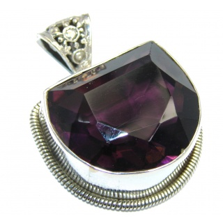Large Simple created Alexandrite Sterling Silver Pendant