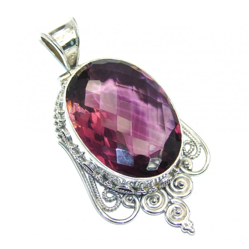 Large Simple created Raspberry Quartz Sterling Silver Pendant