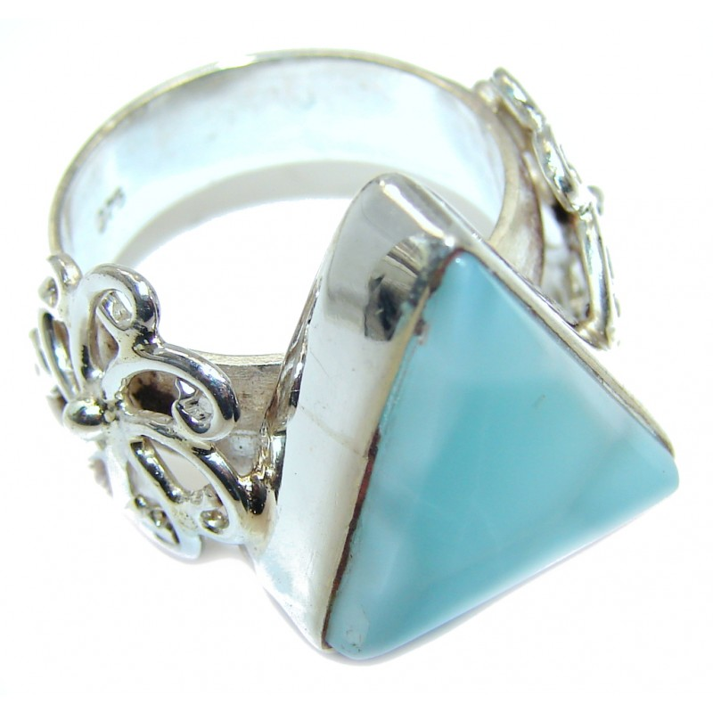 Good quality Blue Larimar Sterling Silver Ring size 7