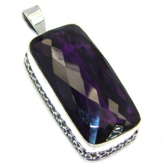 Large Simple created Amethyst Sterling Silver Pendant