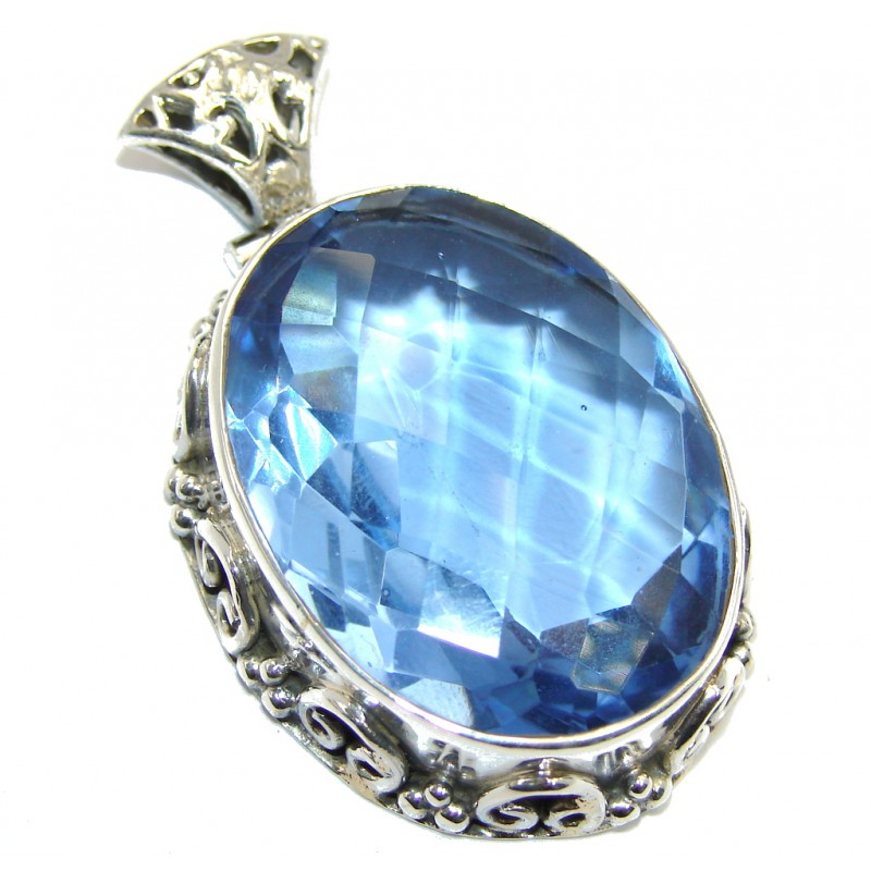 Simple Beauty created Blue Topaz Sterling Silver Pendant