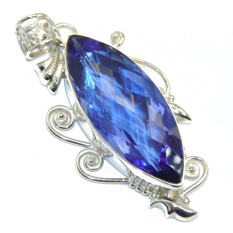 Simple Beauty created London Blue Topaz Sterling Silver Pendant