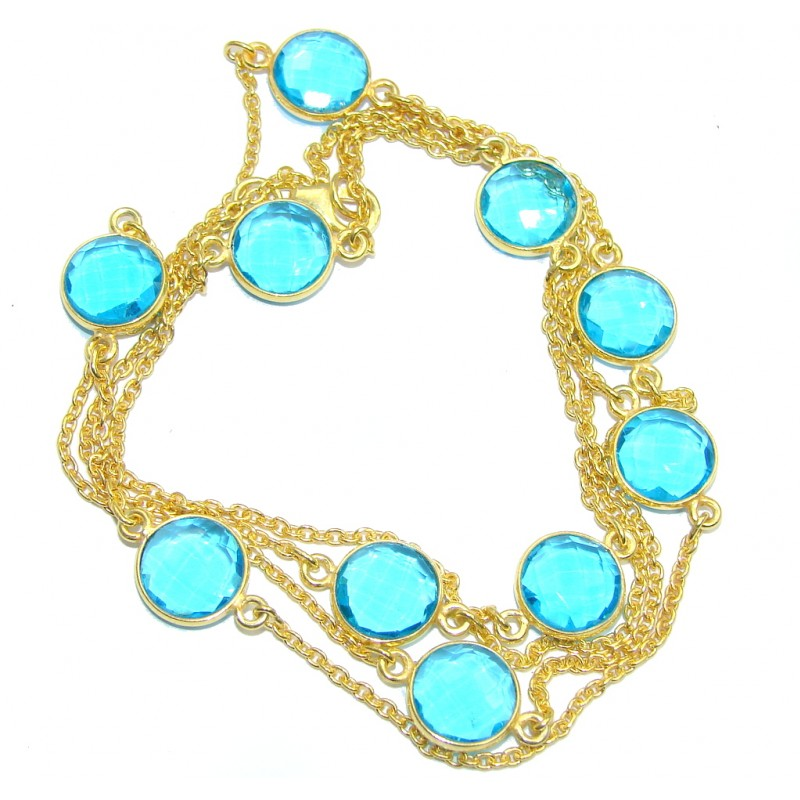 36 inches Swiss Blue Topaz Quartz Gold plated over Sterling Silver Necklace
