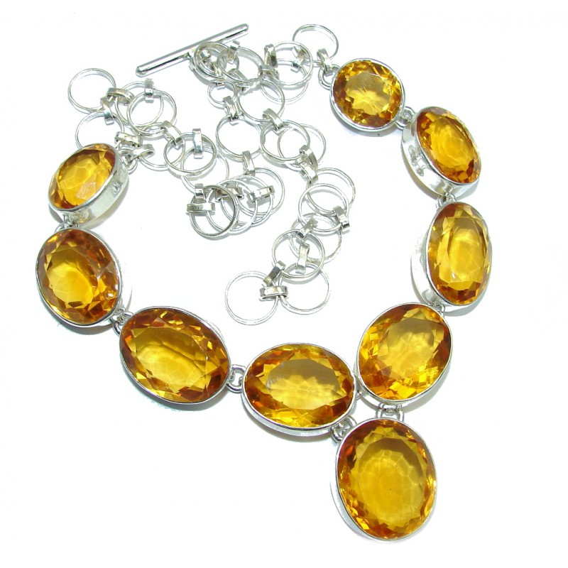 Mexican Summer Created Citrine Sterling Silver Necklace