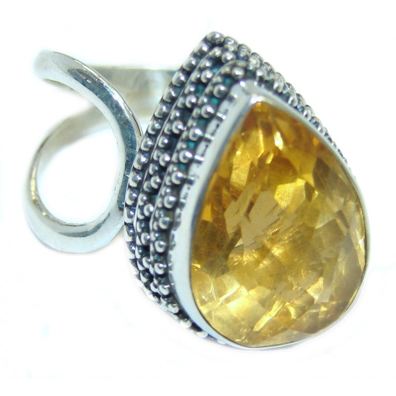 Vintage Style Faceted Citrine Sterling Silver Handcrafted Ring size adjustable