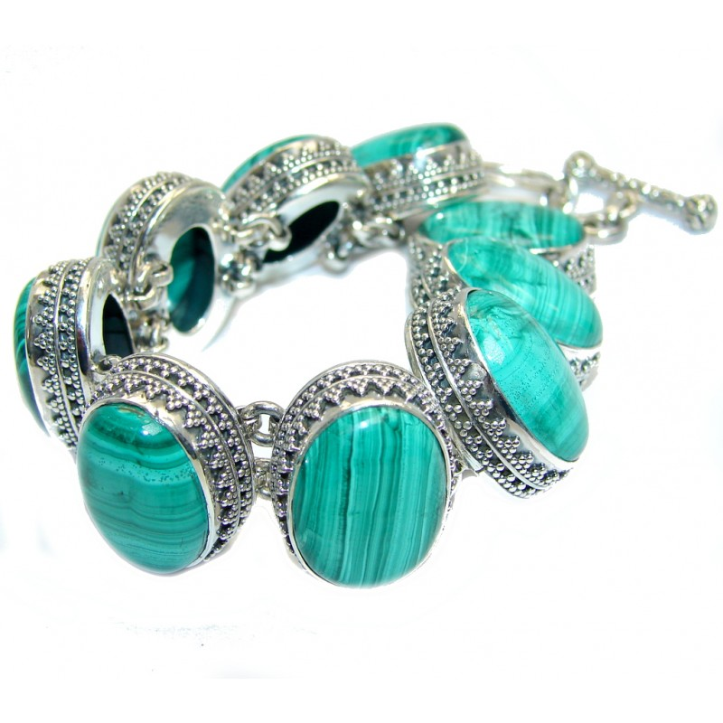 Chunky Vintage Design AAA Malachite Sterling Silver Bracelet