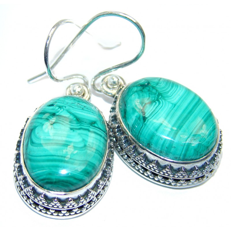 New Amazing Design AAA Green Malachite Sterling Silver earrings