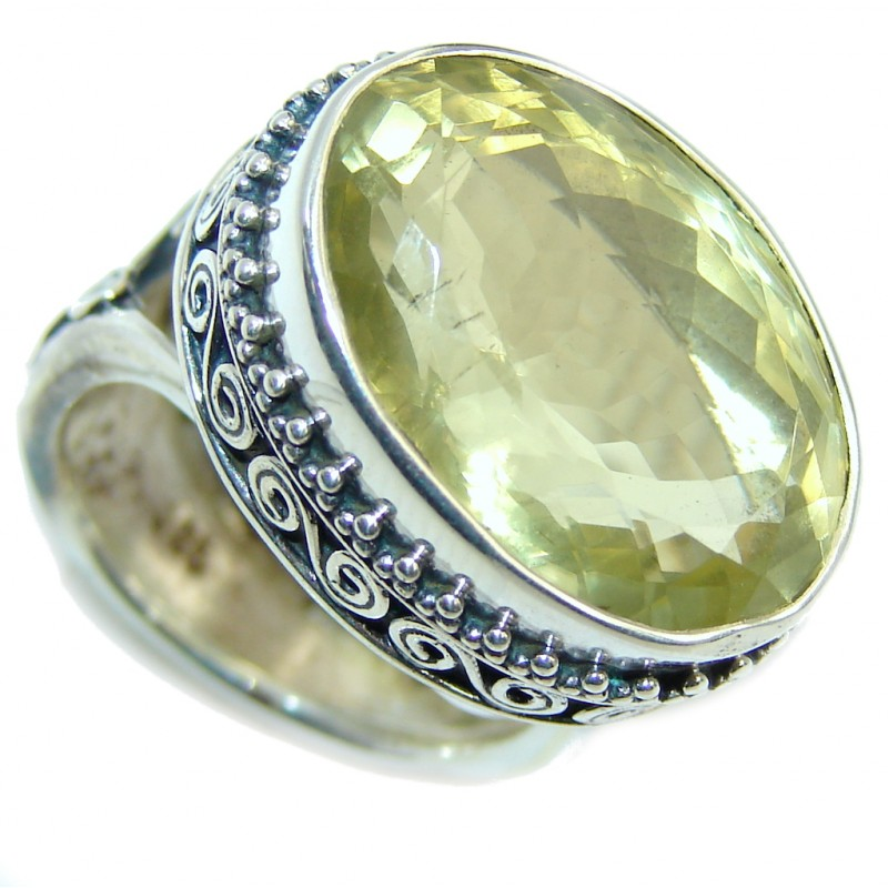 Big Genuine Citrine Made Sterling Silver handcrafted Ring size adjustable
