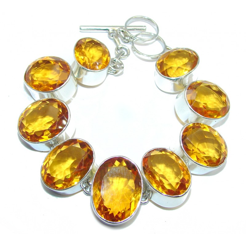 Amazing Flawless Golden Quartz Sterling Silver Bracelet