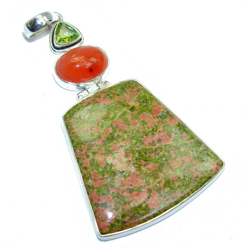 Big Inspiring Combination Green Russian Unakite Sterling Silver Pendant