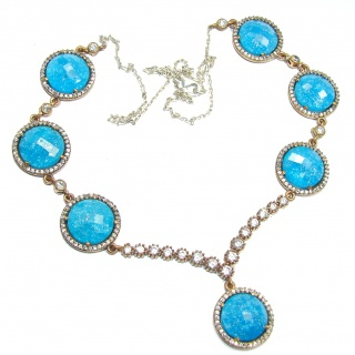 Huge Incredible Rich Design created Blue Crystals Sterling Silver necklace