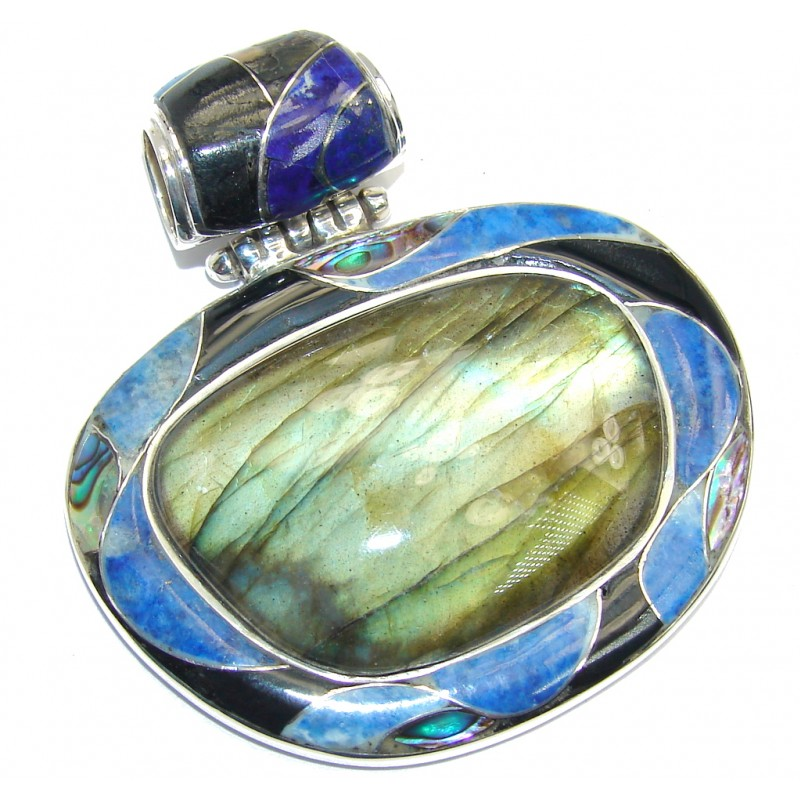 Giant! Perfect AAA Blue Fire Labradorite Sterling Silver Pendant