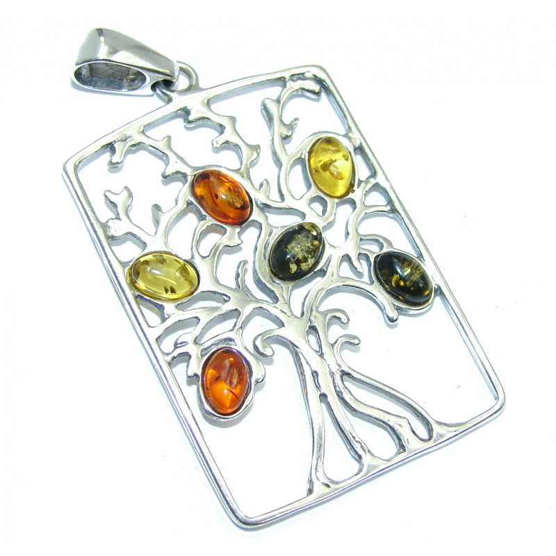 Family Tree Design Polish Amber Sterling Silver Pendant