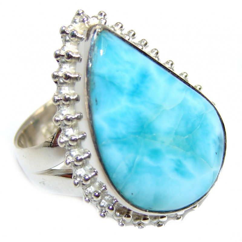Huge Amazing AAA quality Blue Larimar Sterling Silver Ring size 6
