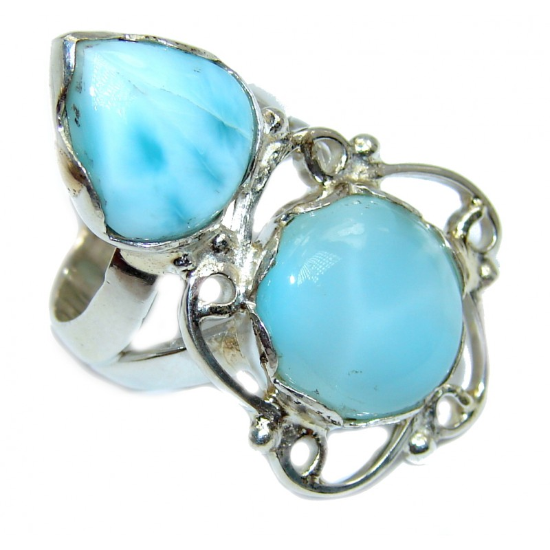 Amazing AAA quality Blue Larimar Sterling Silver Ring size 6