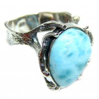 Excellent quality Blue Larimar Oxidized Sterling Silver Ring size 8 1/2