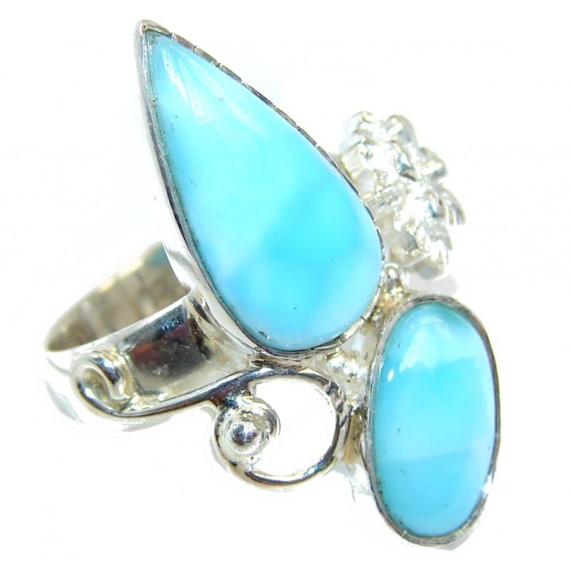 Great quality Blue Larimar Sterling Silver Ring size 8
