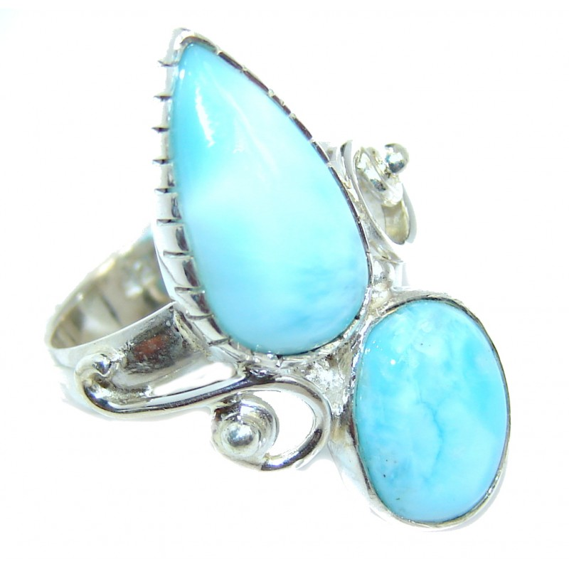 Great quality Blue Larimar Sterling Silver Ring size 6