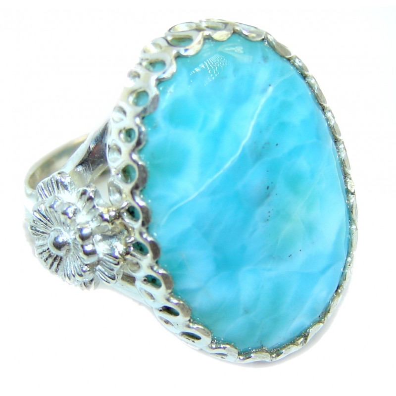 Great quality Blue Larimar Sterling Silver Ring size 9