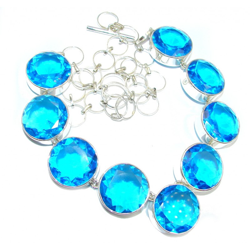 Huge Incredible Rich Design created Blue Topaz Sterling Silver necklace
