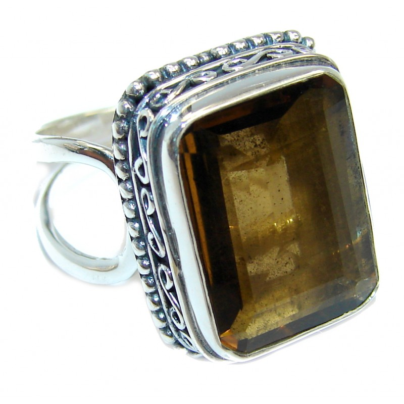 Amazing Genuine Smoky Topaz Sterling Silver ring size adjustable