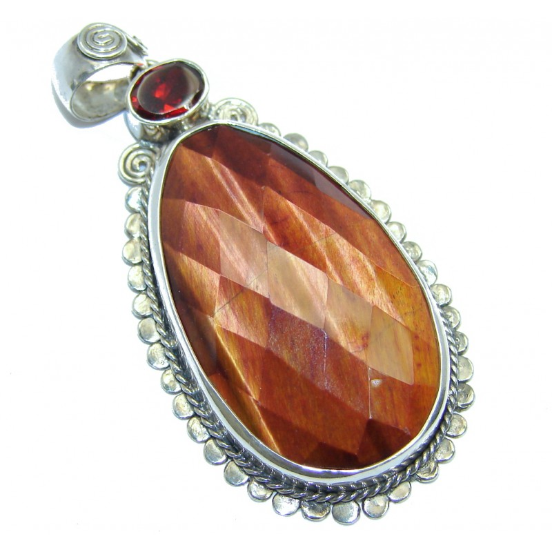 Secret Beauty Red Tigers Eye Sterling Silver Pendant
