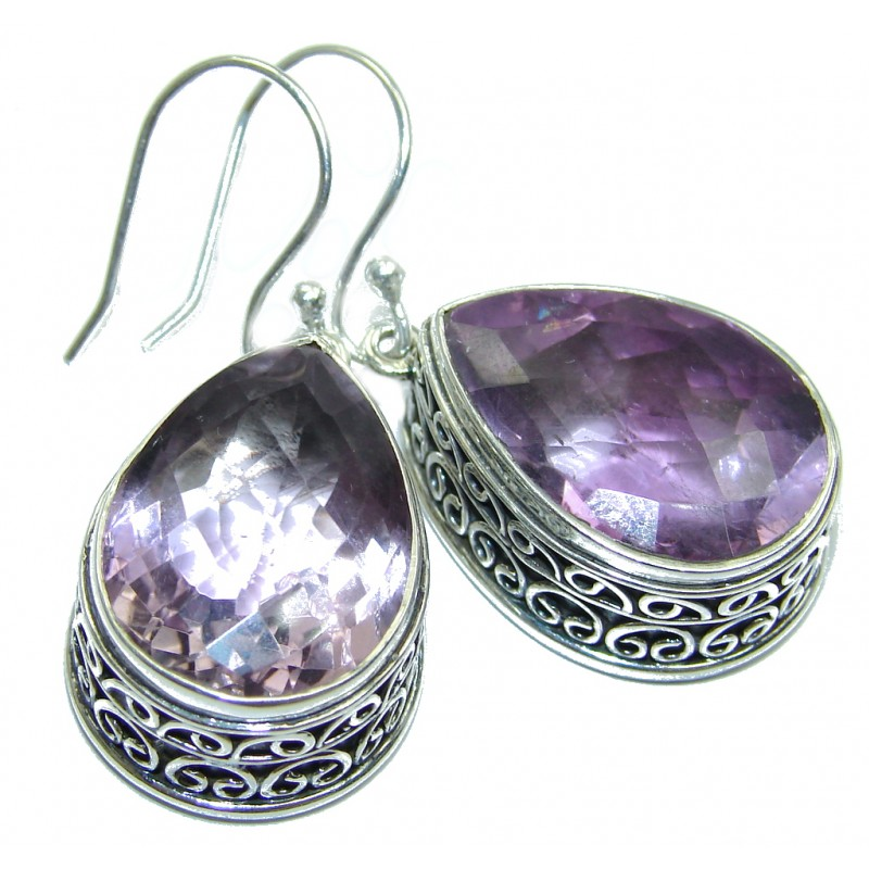 Huge Rich Vintage Design Purple Amethyst Sterling Silver earrings