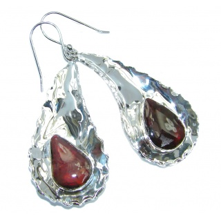 Red Aura AAA+ Fire Ammolite hammered Sterling Silver earrings