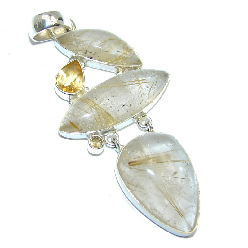 Genune golden rutilated quartz sterling silver pendant for Golden rutilated quartz jewelry