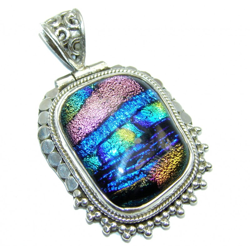 Exotic Mexican Dichroic Glass Sterling Silver pendant