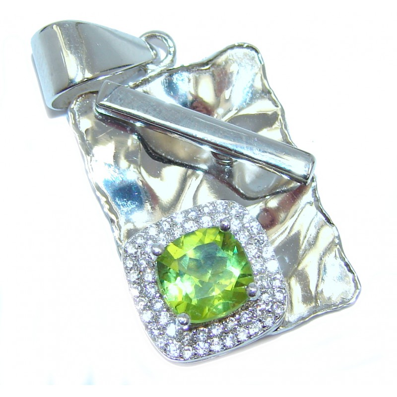 Genuine Green Peridot & White Topaz Sterling Silver Pendant