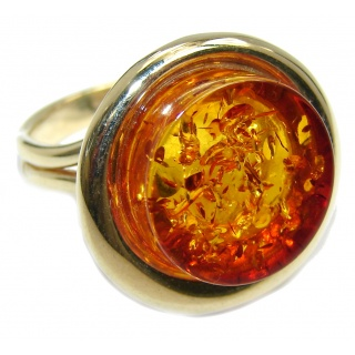 Chunky Genuine Polish Amber Gold plated Sterling Silver Ring s. 8 1/2