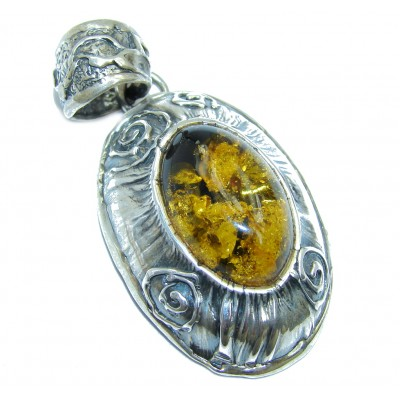 Back to Nature Green AAA Green Baltic Amber Sterling Silver Pendant