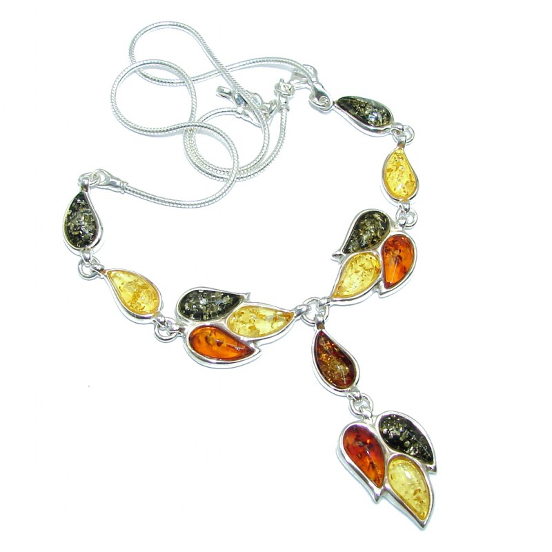 Very Elegant AAA Multicolor Baltic Polish Amber Sterling Silver necklace