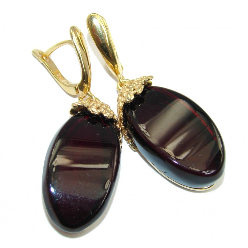 Genuine Dark Cherry Baltic Polish Amber Gold over Sterling Silver Earrings