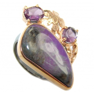 Purple Charoite Gold Rhodium plated over Sterling Silver Ring s. 6 1/4