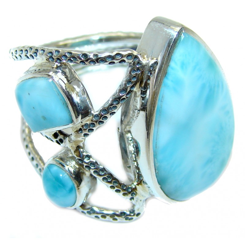 Huge AAA quality Blue Larimar Sterling Silver Statment Ring size adjustable