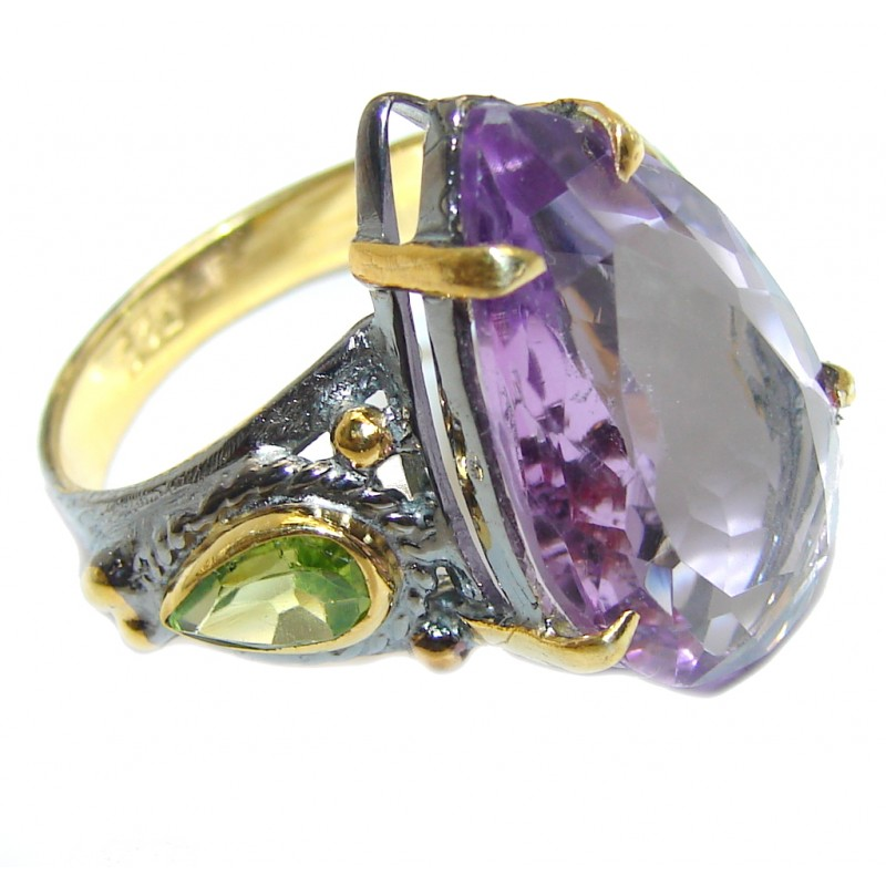 Sublime AAA Amethyst Gold Rhodium plated over Sterling Silver Ring size 9
