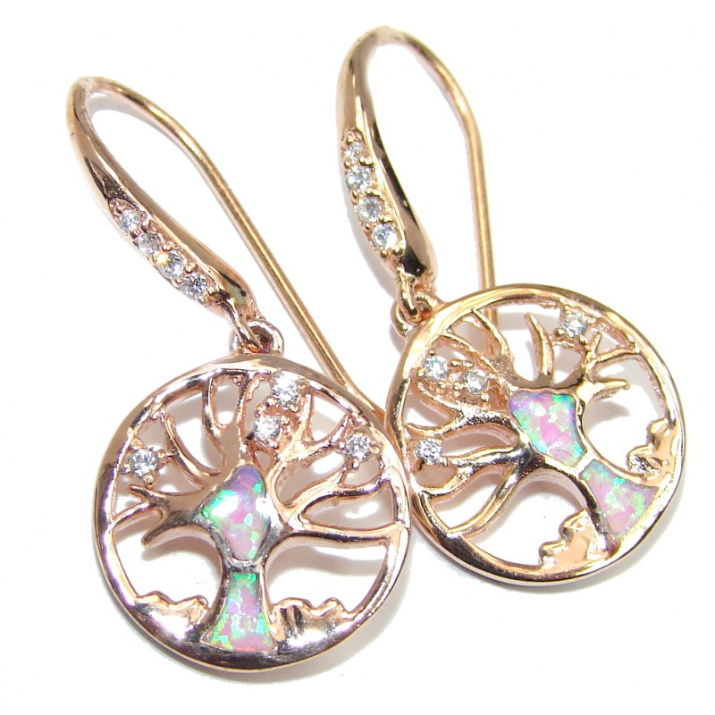Family Tree Fire Opal Rose Gold over Sterling Silver earrings
