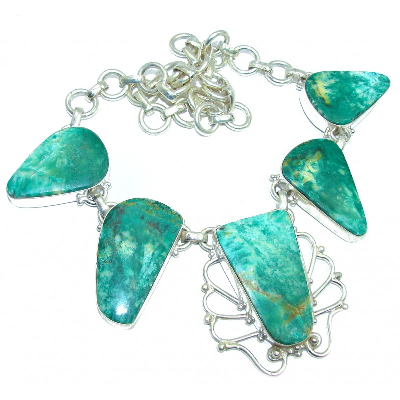 Jumbo Green Sea Jasper Stone Silver Tone necklace