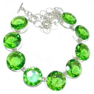 Touch Of Life Huge Green Quartz Sterling Silver necklace