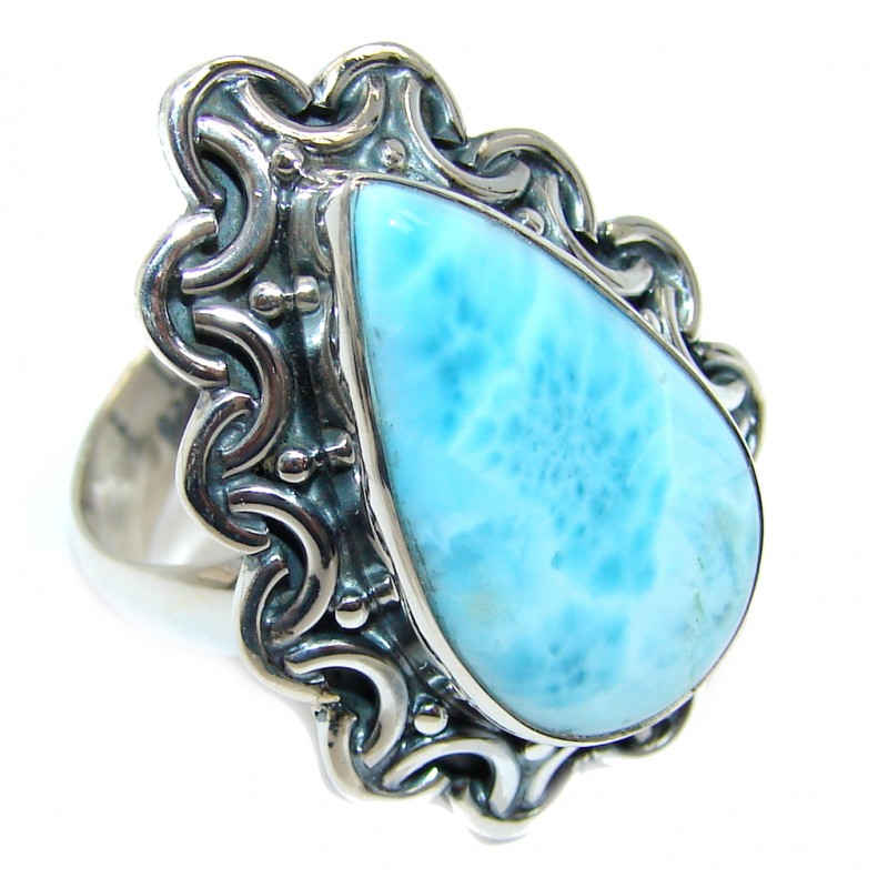Sublime quality Blue Larimar Sterling Silver Ring size adjustable