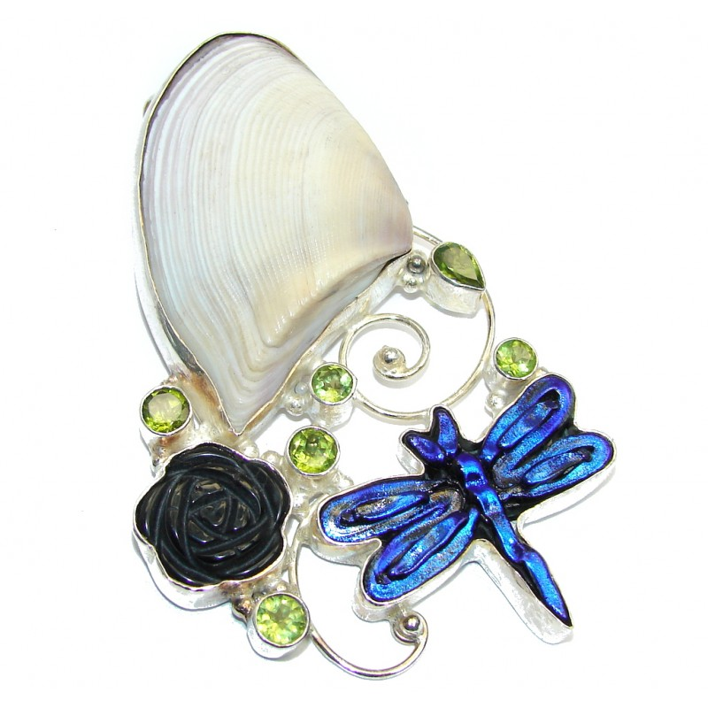 Giant Natural Sea Shell Dichroig Glass Sterling Silver Pendant