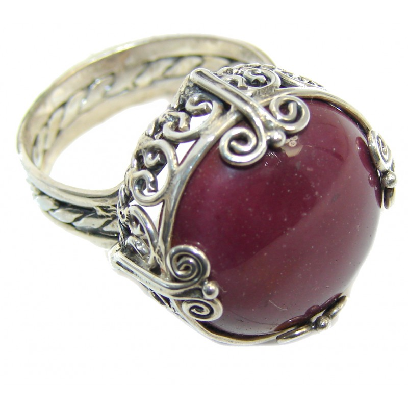 Vintage Style Perfect Red Jasper Sterling Silver Ring s. 10